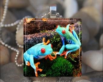 BLUE RAINFOREST FROGS Tropical Frog Tree Glass Tile Pendant Necklace Keyring