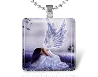 CRYING ANGEL Heaven Fairy Fantasy Glass Tile Pendant Necklace Keyring