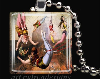 VINTAGE TRAPEZE ARTISTS Circus Performers Glass Tile Pendant Necklace Keyring