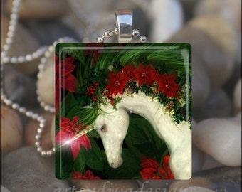 CHRISTMAS UNICORN Holiday Fairy Tale Horse Glass Tile Pendant Necklace Keyring