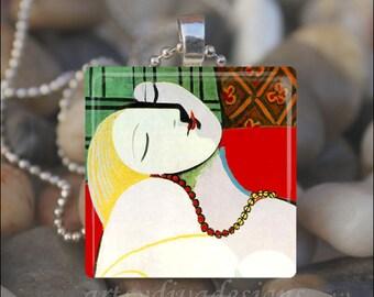 THE DREAM Pablo Picasso Painting Woman Art Glass Tile Pendant Necklace Keyring