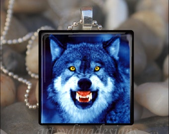MENACING WOLF Coyote Dog Wolves Blue Moon Glass Tile Pendant Necklace Keyring