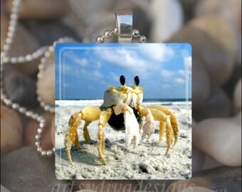 SAND CRAB Summer Beach Seashell Ocean Shell Glass Tile Pendant Necklace Keyring