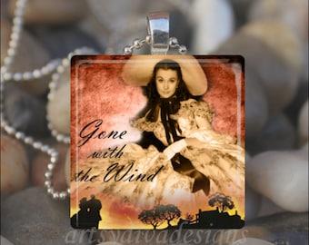 GONE WITH the WIND Scarlett O'Hara Rhett Butler Romance Book Glass Tile Pendant Necklace Keyring design 5