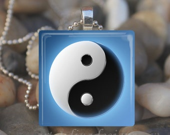 BLUE YIN YANG Chinese Symbol Water Earth Yin and Yang Glass Tile Pendant Necklace Keyring