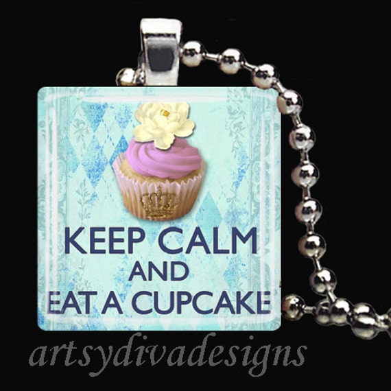 KEEP CALM CUPCAKE Cake Baker Dessert Glass Tile Pendant Necklace Keyring
