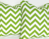 Green chevron pillow covers pair TWO 18x18 inch lime chartreuse decorative throw sham modern geometric zigzag same fabric front back