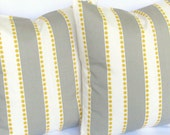 Grey Yellow Decorative throw Pillow Covers pair TWO 18x18 inch lulu modern contemporary throw same fabric front and back FREE SHIP