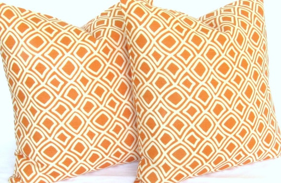 Decorative Pillow Covers orange pair TWO 18x18 inch duralee kilburn same fabric front and back FREE SHIP