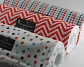Baby Burp Cloths, Set of 3, Remix by Ann Kelle and White Cotton Chenille