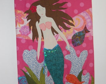 Mermaid in colorful sea quilt, or wall hanging by Marina