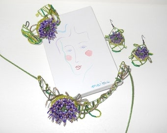 Unique Purple flowers Necklace, matching earrings and bracelet, unusual one of a kind set, by Marina
