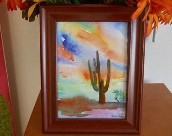Saguaro Cactus at sunset, watercolor print framed, by Marina