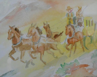 Stagecoach with Horses, Original Watercolor Print, Framed