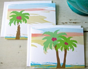 Palm Beach Blank Notecards - 2 Designs - Set of 8 - Personalization Available