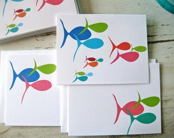 Summer School Blank Notecards - 3 Designs - Set of 8 - Fun Fish for every occasion - Personalization Available