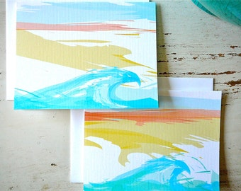 The Wave Blank Notecards - 1 Design - Set of 8 - Personalization Available