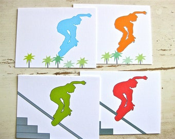 Skate Blank Notecards - 2 Designs, 4 color variation - Set of 8 - Personalization Available