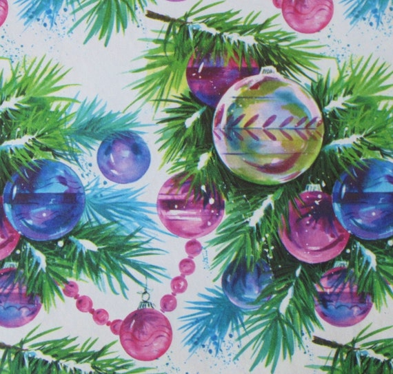 Vintage Christmas Gift Wrap Wrapping Paper - MOD Ornaments - 1960s