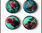 Set of 4 - One inch button magnets - Victorian Roses on Teals (Lot 2)