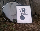 """8""""x10"""" Linocut  """"B is for Banjo"""""""
