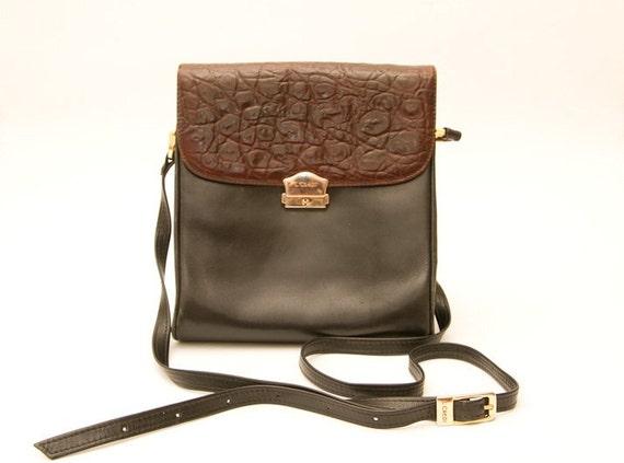Vintage leather brown black bag adjustable strap