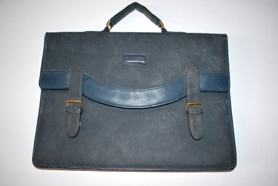 Vintage leather handbag dark green briefcase // back to school