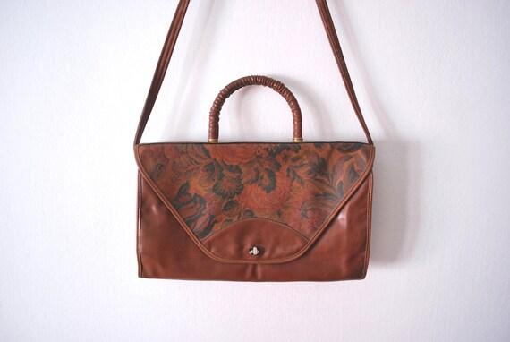Vintage ethnic handbag faux leather flower pattern brown