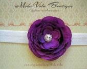 Flower Headband Purple Flower with rhinestone center on a shimmery white headband