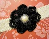 Headband Shabby Chic Headband - Black shabby chic flower with pearl center on a white lace headband