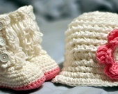 Newsboy/girl style beanie white with removable pink flower and matching Loopy boots