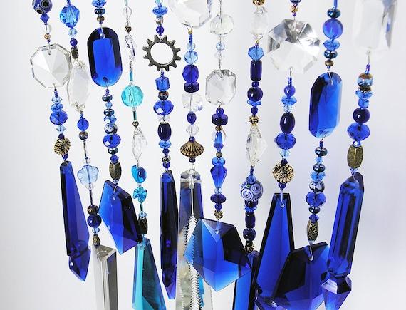 Cobalt Blue beaded Suncatcher, vintage chandelier crystal, sunburst finding, good energy Chi-Swirler
