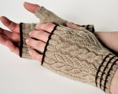 Cashmere, Fingerless Gloves, Hand Warmers, Light Taupe with Chocolate Stripes, Made To Order