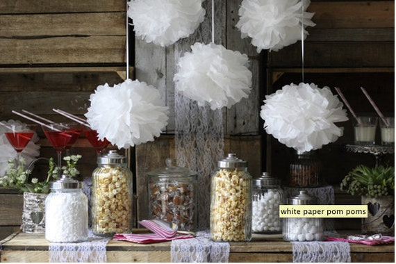 5 Small Poms: wedding decor - bridal shower - garden party - nursery decor - outdoor decor - vintage decor  - pick your colors
