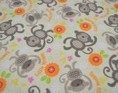 "Fabric Flannel  Monkeys 29"" x 40""W Pre-Washed New"