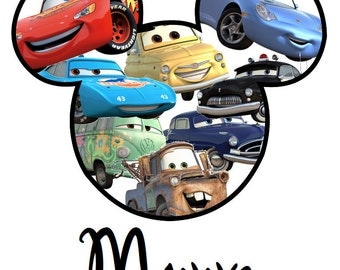 Custom Personalized Cars Mickey Iron on Transfer Decal(iron on transfer, not digital download)