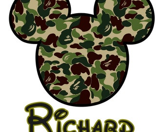 Disney Iron On Camo Mickey Custom Personalized Iron on Transfer Decal(iron on transfer, not digital download) camoflauge