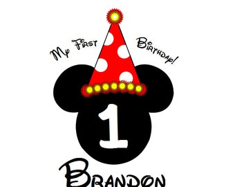 Custom Personalized Mickey Birthday Iron on Transfer Decal(iron on transfer, not digital download)