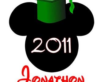 Graduation Mickey Personalized Custom Disney Iron on Transfer Decal(iron on transfer, not digital download)