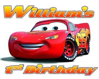 Disney Iron On Lightning McQueen Custom Personalized Birthday Iron on Transfer Decal(iron on transfer, not digital download) Cars Birthday
