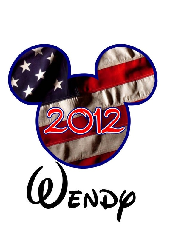 Custom Personalized 4th of July Flag Mickey Iron on Transfer Decal(iron on transfer, not digital download)