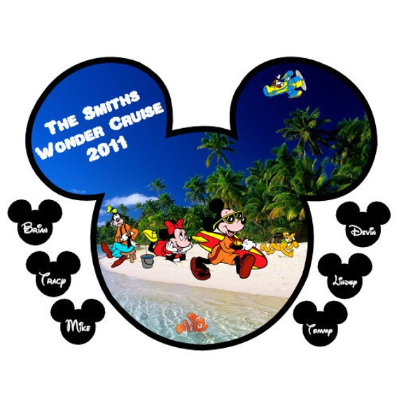 Custom Personalized Mickey and Gang on the Beach With Small Name Heads Disney Cruise Stateroom Door Magnet
