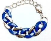 Blue & Silver Color-Blocked Chain Link Bracelet