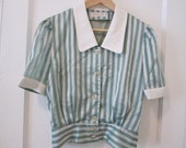 Mint Striped with Collar Blouse