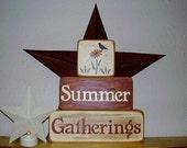 Ready to ship * Summer Gatherings Stacking, Word Art,  Wood Blocks