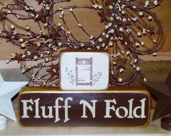 Ready to ship * Laundry Room Stacking Wood Sign Fluff n' Fold, Word Art