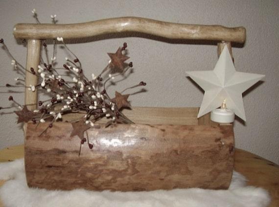 Ready to ship * Rustic Handmade Log Basket