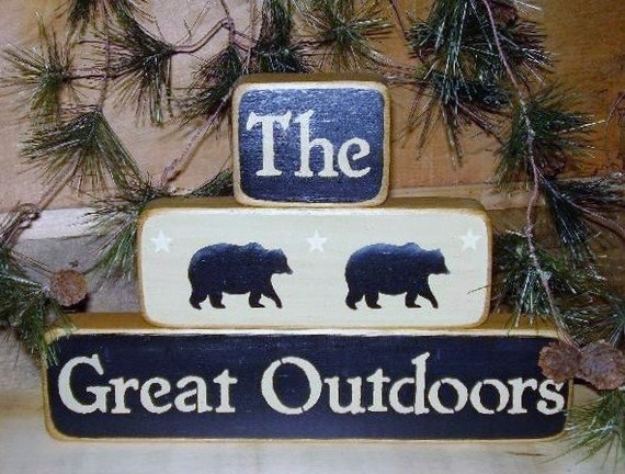 Ready to ship * The Great Outdoors, Woodsy, Word Art,  Blocks