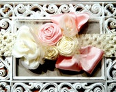 Crochet Flower Headband For Baby Toddler, or Girl With Ribbon Roses, Flowers, and Bow