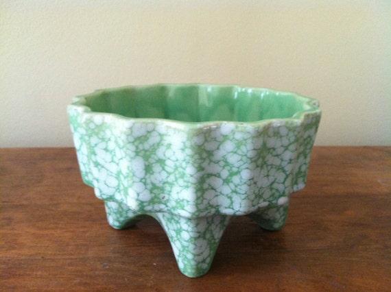 Retro Green Splatter USA Pottery Planter